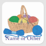 Knitting Personalised Square Stickers