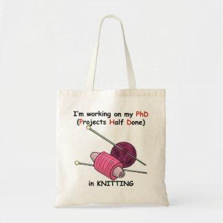 Knitting PhD Budget Tote Bag