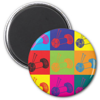 Knitting Pop Art 6 Cm Round Magnet