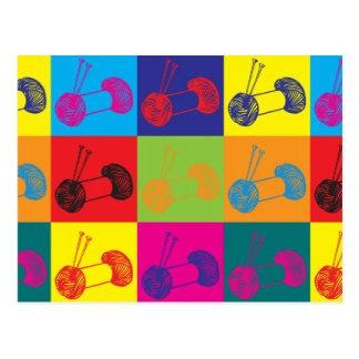 Knitting Pop Art Postcard