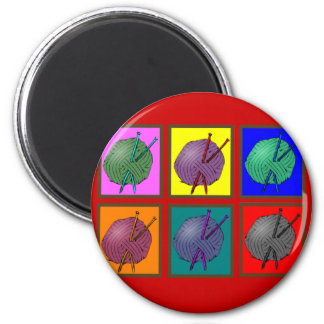 Knitting Popart Gifts 6 Cm Round Magnet