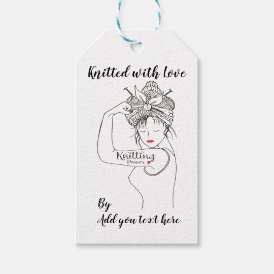 Knitting Power custom Gift tags