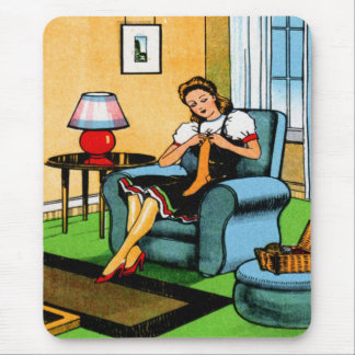 Knitting Sewing Girl 40s Vintage Kitsch Art Mouse Mat