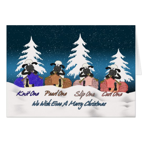 knitting sheep christmas greeting card - we wish e