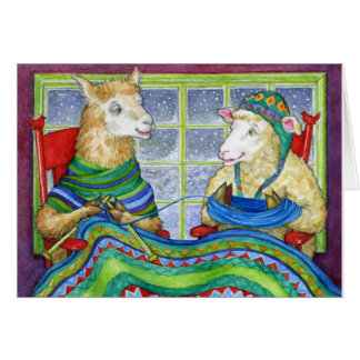Knitting Sheep & Llama Card