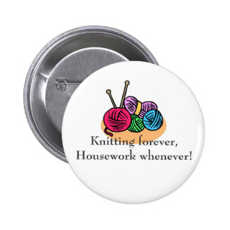 Knitting T-shirts and Gifts. 6 Cm Round Badge