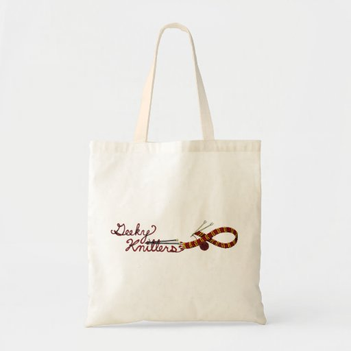 Knitting Tote with Red Scarf Design Geeky Knitters Tote Bag