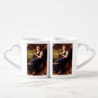 Knitting Woman by William-Adolphe Bouguereau Lovers Mug