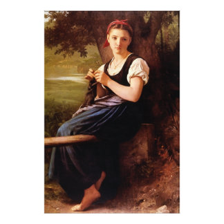 Knitting Woman by William-Adolphe Bouguereau Photo Print