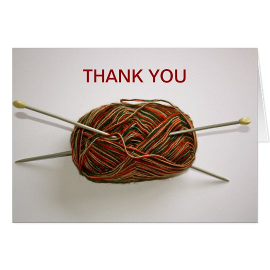 Knitting Wool and Needles Thank You Card