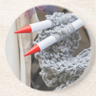 knitting workwoman coaster