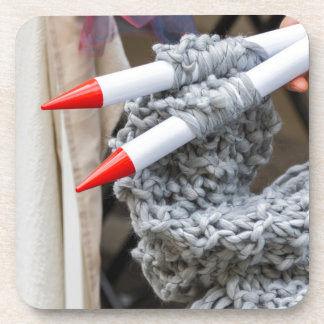 knitting workwoman drink coaster