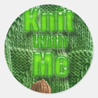 KnitWithMe Sticker. Round Sticker