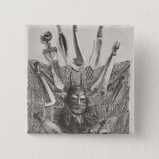 Knives, mask and mat from Upper Congo 15 Cm Square Badge