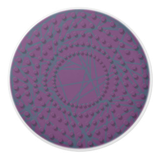 Knob purple design in raised dot circular pattern