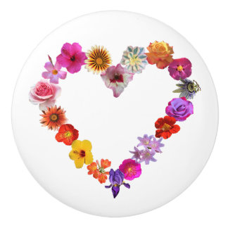 Knob with heart made of photographs of flowers
