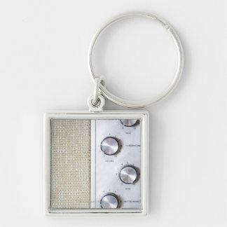 Knobs Silver-Colored Square Key Ring