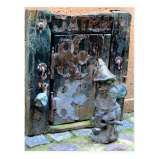 """Knock Knock Gnome"" - Wroclaw, Poland Postcard"