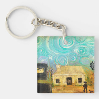 Knock Knock who's Home Single-Sided Square Acrylic Key Ring