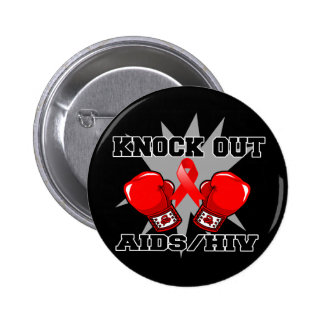 Knock Out AIDS HIV 6 Cm Round Badge
