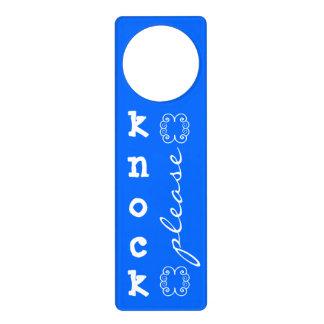 KNOCK please blue door hanger