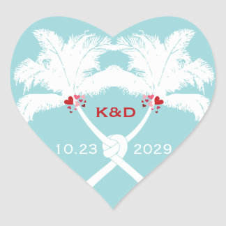 Knot Palm Trees Beach Tropical Wedding Modern Chic Heart Sticker