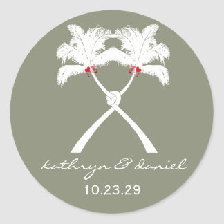 Knot Palm Trees Beach Tropical Wedding Modern Chic Round Sticker