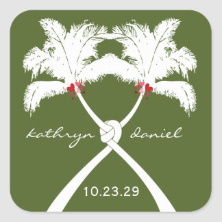 Knot Palm Trees Beach Tropical Wedding Modern Chic Square Sticker