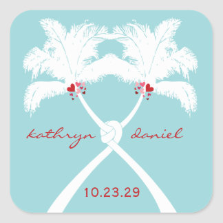Knot Palm Trees Beach Tropical Wedding Modern Chic Square Stickers