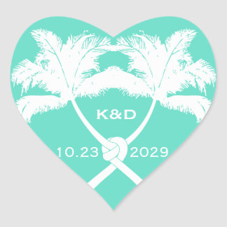 Knot Palm Trees Beach Tropical Wedding Modern Chic Stickers