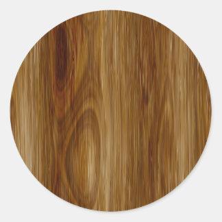 Knotted Oak Woodgrain Look Classic Round Sticker