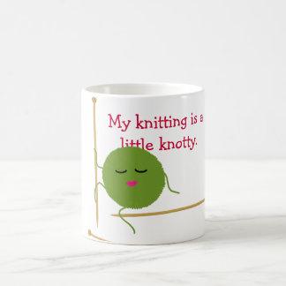 Knotty Knitter Funny Basic White Mug