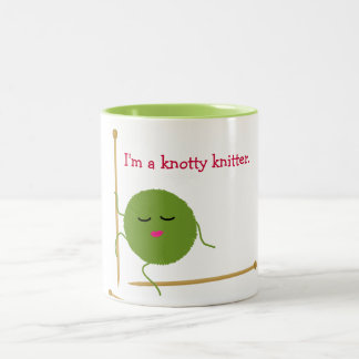 Knotty Knitter Funny Two-Tone Mug