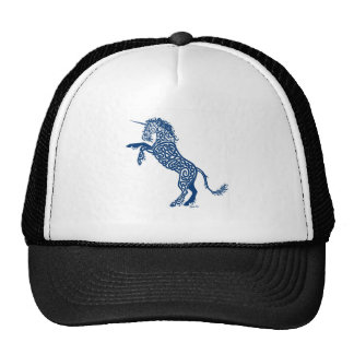 Knotwork Blue Unicorn Cap