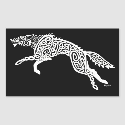 Knotwork Wolf, White on Black Rectangle Stickers
