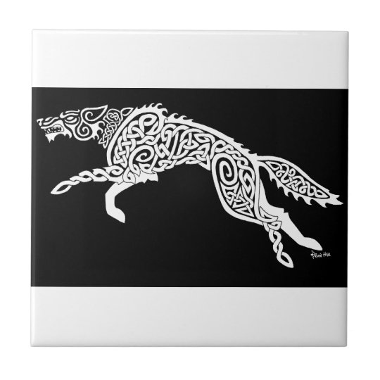 Knotwork Wolf, White on Black Tile