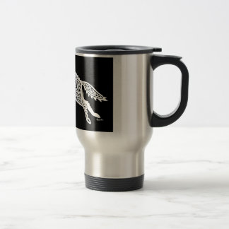 Knotwork Wolf, White on Black Travel Mug