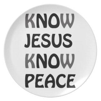 Know Jesus Know Peace No Jesus No Peace Black Font Plate