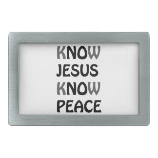 Know Jesus Know Peace No Jesus No Peace Black Font Rectangular Belt Buckles