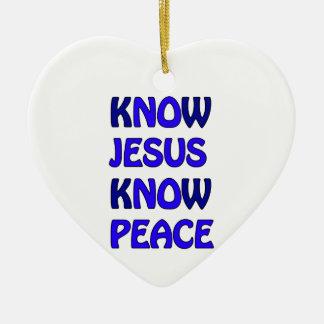 Know Jesus Know Peace No Jesus No Peace Dark Blue Ceramic Heart Decoration