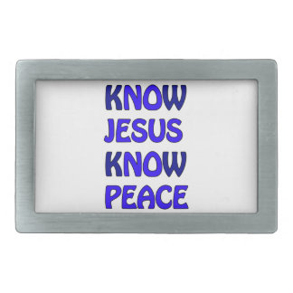 Know Jesus Know Peace No Jesus No Peace Dark Blue Rectangular Belt Buckle