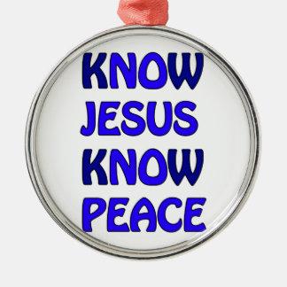 Know Jesus Know Peace No Jesus No Peace Dark Blue Silver-Colored Round Decoration