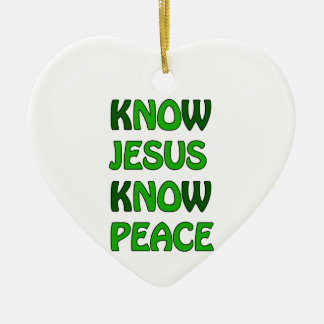 Know Jesus Know Peace No Jesus No Peace Dark Green Ceramic Heart Decoration