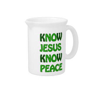 Know Jesus Know Peace No Jesus No Peace Dark Green Pitcher