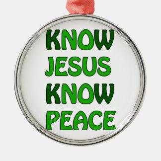 Know Jesus Know Peace No Jesus No Peace Dark Green Silver-Colored Round Decoration
