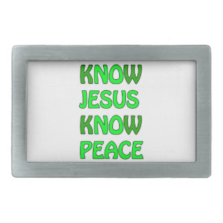 Know Jesus Know Peace No Jesus No Peace Green Belt Buckles