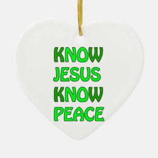 Know Jesus Know Peace No Jesus No Peace Green Ceramic Heart Decoration