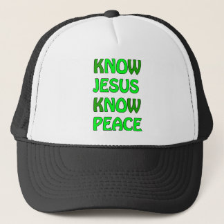 Know Jesus Know Peace No Jesus No Peace Green Trucker Hat