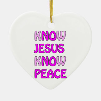 Know Jesus Know Peace No Jesus No Peace In A Pink Ceramic Heart Decoration