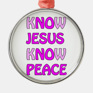 Know Jesus Know Peace No Jesus No Peace In A Pink Silver-Colored Round Decoration